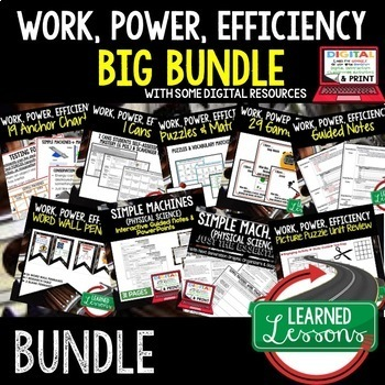 Physical Science Work, Power, & Efficiency (Physical Science BUNDLE)