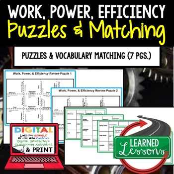 Physical Science Work, Power, Efficiency Puzzles & Vocabul
