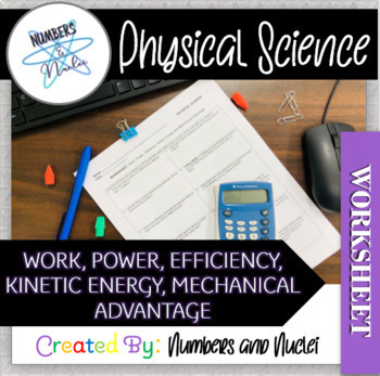 Physical Science Work Power Energy Efficiency Mechanical Advantage Worksheet