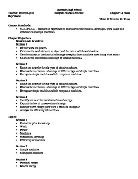 Physical Science - Work and Energy Block Schedule Lesson Plan