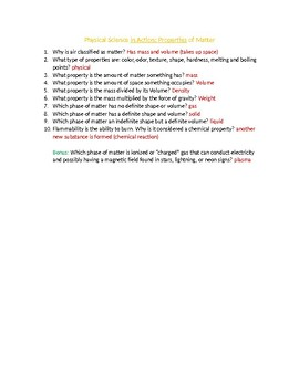 Physical Science in Action: Properties of Matter Quiz/Worksheet (Answer Key)