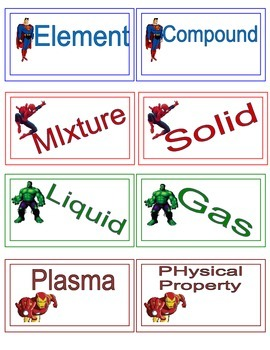 Physical Science sSuperhero Vocabulary Words
