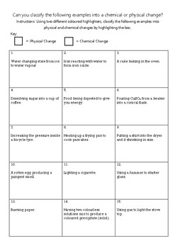 Physical and Chemical Changes Activity Worksheet