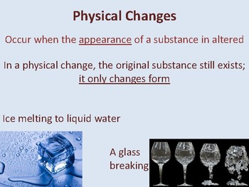Physical and Chemical Changes Anchor Charts