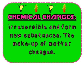Physical and Chemical Changes (Changes in Matter) Bulletin Set