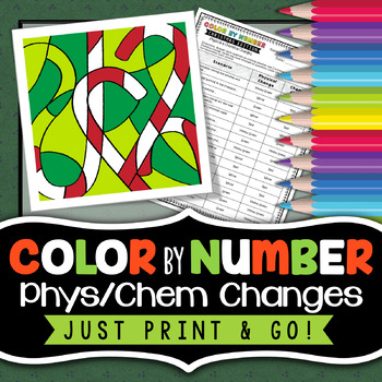 Physical and Chemical Changes -  Color By Number - Christmas Science