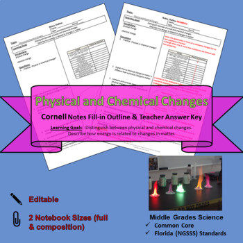 Physical and Chemical Changes Cornell Notes #33