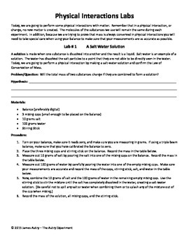 Chemical and Physical Changes / Interactions of Matter/ Fun Science Labs 5.P.3