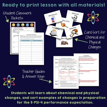 NGSS Aligned Physical and Chemical Changes Lesson and Card Sort