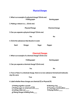 Physical and Chemical Changes Quiz