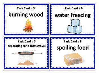 Physical and Chemical Changes TASK CARDS - 5th Science