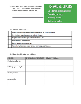 Physical and Chemical Changes Test, Quiz, or pretest