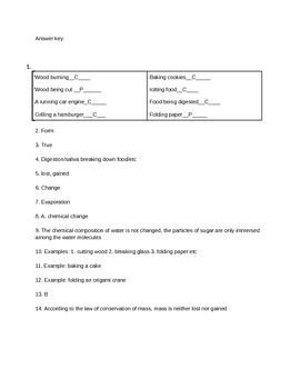 Physical and Chemical Changes Test/Quiz or Handout