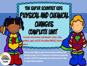 Physical and Chemical Changes Unit w/PPT Doodle Notes Editable 3D Lesson Plans