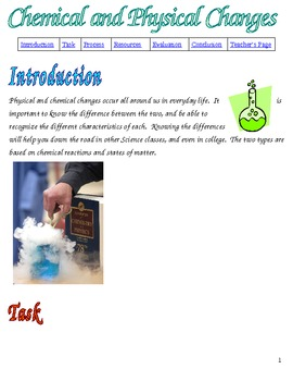 Physical and Chemical Changes Webquest