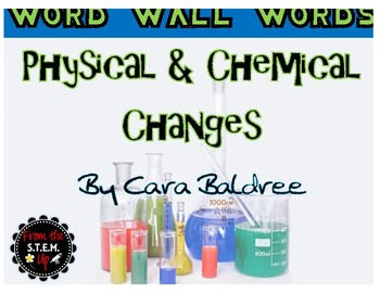 Physical and Chemical Changes Word Wall Words with Activities