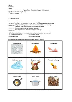 Physical and Chemical Changes - Worksheet by Science ...