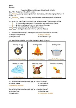 Physical and Chemical Changes - Worksheet
