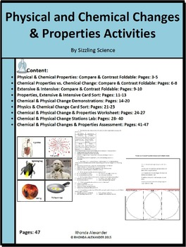 Physical and Chemical Changes Activities