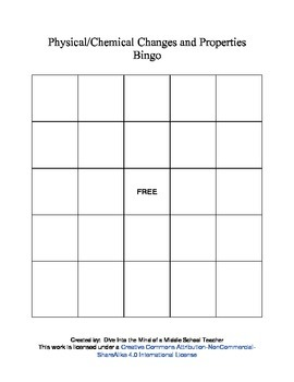 Physical and Chemical Changes and Properties Bingo