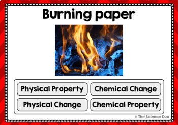 Physical and Chemical Changes and Properties - Digital Boom Cards™ Sort