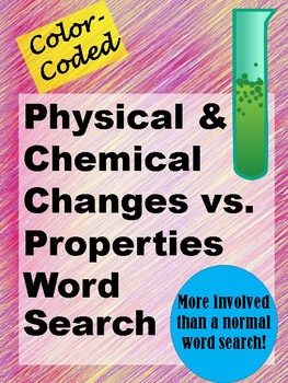 Physical and Chemical Changes and Properties Word Search - Color-Coded