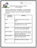 Physical and Chemical Changes in Matter Bundle Fifth Grade
