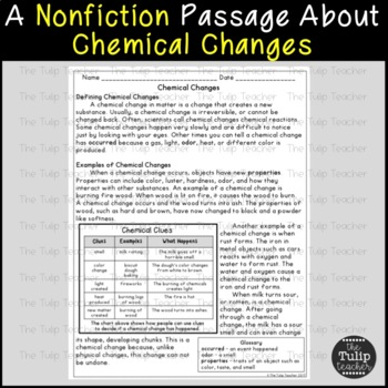 Physical And Chemical Changes To Matter Reading