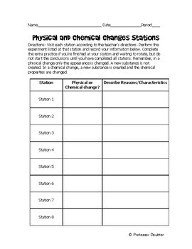 NGSS 8 Physical and Chemical Changes/Reactions Minilabs MS-PS1-2