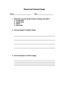 Physical and Chemical Lesson Plan