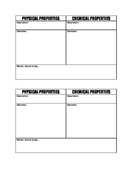 Physical and Chemical Properties Graphic Organizer
