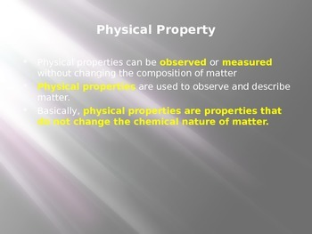Physical and Chemical Properties and Change