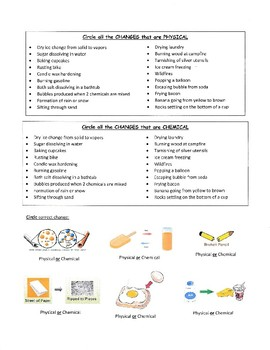 Physical and Chemical Properties and Changes Handout