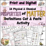 Physical and Chemical Properties of Matter Definitions Cut and Paste Activity