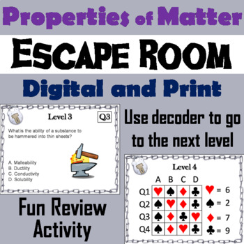 Physical And Chemical Properties Of Matter Activity Escape Room