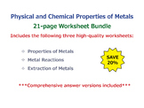 Physical and Chemical Properties of Metals [Worksheet Bundle]