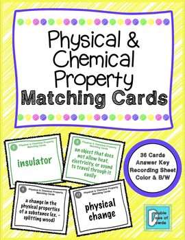 Physical and Chemical Property Matching Game