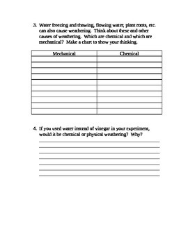 Physical and Chemical Weathering Activity