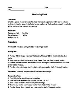 Physical and Chemical Weathering Chalk Lab
