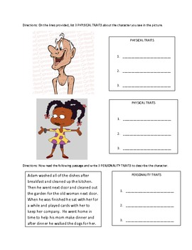 Physical and Personality Traits Independent Work