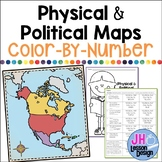 Physical and Political Maps: Color-By-Number