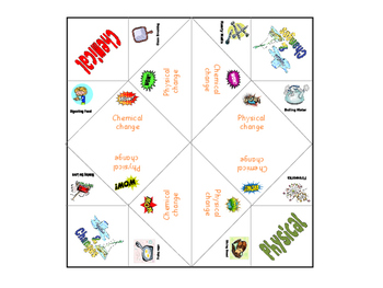 Physical and chemical change chatterbox cootie catcher fortune teller