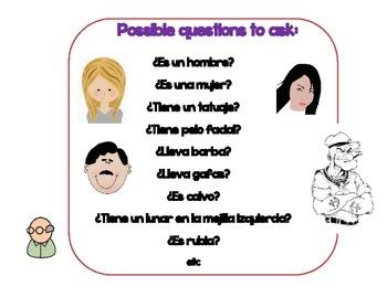 Physical descriptions in Spanish. ADIVINA QUIEN.