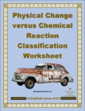 Physical or Chemical Change Classification Worksheet
