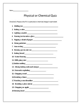 Physical or Chemical Change Quiz