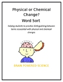 Physical or Chemical Changes Word Sort