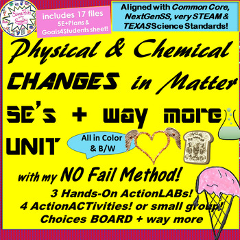 Physical vs Chemical CHANGES in Matter complete UNIT-5E's+way more!3Labs4ACTiv++
