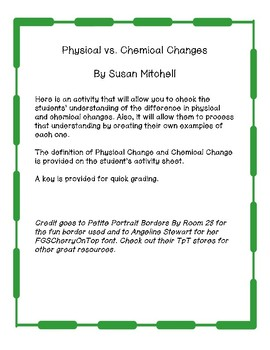 Physical vs. Chemical Changes-Practice Problems