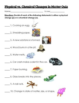 Physical vs. Chemical Changes Quiz