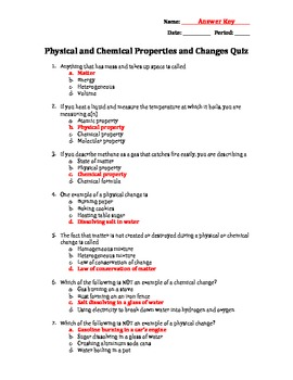 Physical vs. Chemical Changes and Properties Quiz